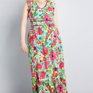 Modcloth Eyes On You Neon Floral Maxi Dress 2X